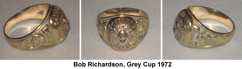 Bob Richardson Grey Cup Ring, 1972
