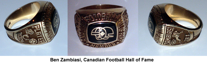 Ben Zambiasi Canadian Football Hall of Fame Ring