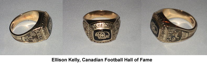 Ellison Kelly Canadian Football Hall of Fame Ring